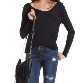 Black Long Sleeve V-Neck Tee by Charlotte Russe