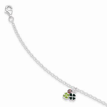 Sterling Silver with 1.5in ext Enamel Ladybug and Clovers Bracelet