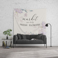 fresh flower market Wall Tapestry by sylviacookphotography