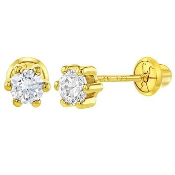 14k Yellow Gold CZ Six Prong Set Solitaire Screw Back Earrings for Girls 4mm