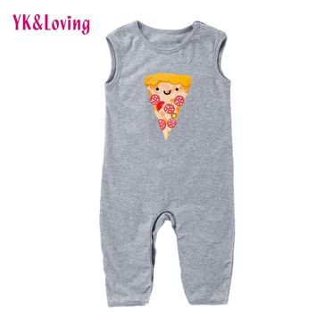 Toddler Infant Newborn Baby Kids Boy Girl Romper Baby Boy Clothes Sleeveless Cartoon Pizza Printing Outfit One Piece Set