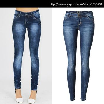 Low Waist Blue Skinny Jeans Women Fashion Washed Bleached Scratched Jeans Femme Plus Size Push Up Vintage Slim Cotton Trousers