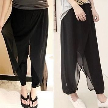 2016 spring and summer chiffon net yarn splicing was thin female harem pants pants culottes large size pants collapse