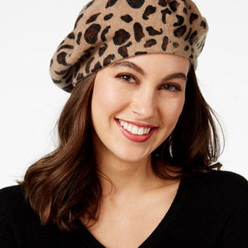 INC International Concepts Leopard-Print Beret, Only at Macy's - Handbags & Accessories - Macy's