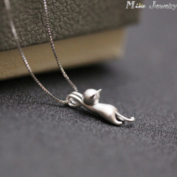 Women's 925 Sterling Silver Cats Pendants Pure Sterling Silver Kitty Necklace Jewelry Collar