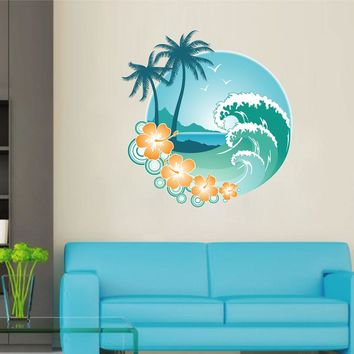 cik1507 Full Color Wall decal Hawaii beach palm trees wave surfing hall bedroom sports shop