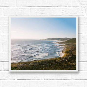 Coastal decor, travel photography, ocean print, beach art, South Africa, landscape photography wall art, horizontal print, Cape of Good Hope