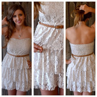 Country Beige Layered Lace Strapless Dress