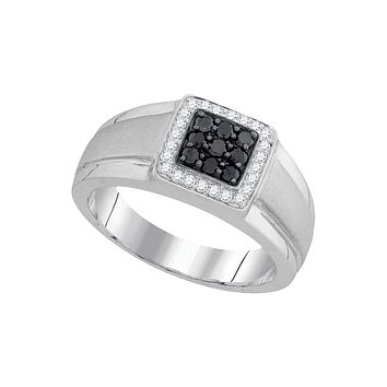 10kt White Gold Mens Round Black Colored Diamond Square Cluster Ring 3/8 Cttw