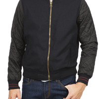 0862-43841405 Guys Wool Blend Varsity Jacket With Quilted Sleeves