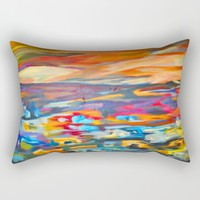 My Village | Colorful Small Mountainy Village Rectangular Pillow by Azima