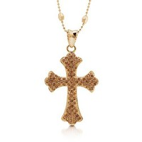 Gold-Tone Three-Strands Station Cross Pendant Fashion Necklace #n904-02