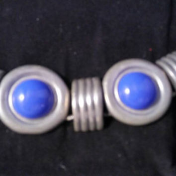 Ben Amun Signed Vintage 1950's 1960's Large Blue Glass Chunky Bracelet Modernist Style Mid Century Hard To Find Collectible Costume Jewelry