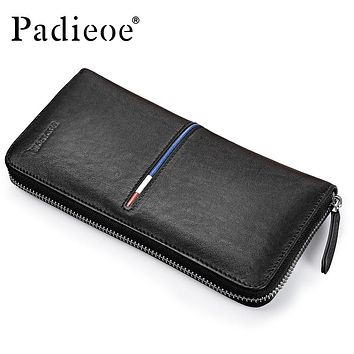 Fashion Men Purse Genuine Leather Long Wallets for Male Leather Cell Phone Clutch Bag Casual Men's Small Handbag