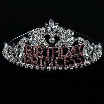 Pink Birthday Princess Crystal Rhinestone Metal Tiara