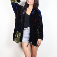 Vintage 90s Velvet Jacket Navy Black Green Red Patchwork Hippie Kimono Jacket 1990s Boho Soft Grunge Goth Floral Duster Jacket S M Medium L