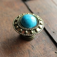 Small Brass Drawer Knobs with Turquoise Stone (MK164)