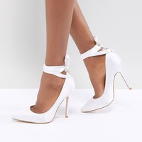 Be Mine Bridal Witch-Hazel Ivory Ankle Tie Pumps at asos.com