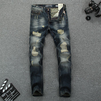 European American High Street Fashion Men Jeans Retro Design Vintage Destroyed Ripped Jeans For Men Slim Fit Biker Jeans Pants