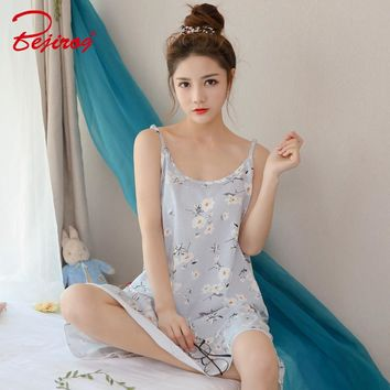 Bejirog Floral Nightwear Women Nightgowns Cotton Sleepshirts Sleep Clothing Fashion Sleeveless Nighties Sexy Sleepwear Summer