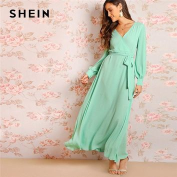 72a5964e9d SHEIN Green Bishop Sleeve Surplice Wrap Belted Women Maxi Dress Fit And Flare  Solid Long Sleeve