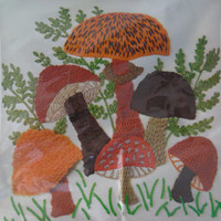 Vintage Wonder Art Stitchery 16 inch Pillow Kit Mushrooms 9132 New Sealed