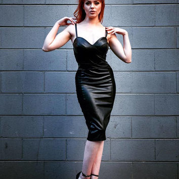 Faux Leather and mesh bustier bodycon black dress