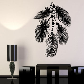 Vinyl Wall Decal Art Beautiful Feathers Ethnic Style Bedroom Decor Stickers Unique Gift (1293ig)