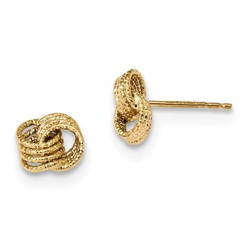 14K Yellow Gold Textured Love Knot Post Earrings
