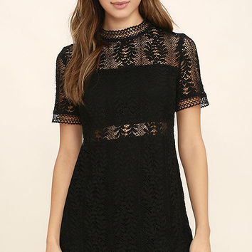 Mink Pink Tell Tale Black Lace Dress