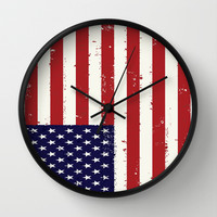 american flag all over print Wall Clock by Designbook