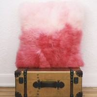 Ombre Pink Sheepskin Pillow 20 x 20 | Cotton Candy Pink to Cranberry Red