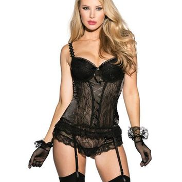 Black Lace & Mesh Padded Cup Corset w/Garters, Panty & Fishnet Gloves