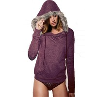 Long Sleeve Hoodies Purple T-shirt With Hat [11598566740]