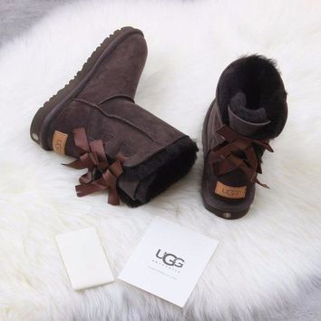 DCCKGV7 Best Online Sale Ugg 1016225 Ribbon Bow Brown Classic Bailey Bow II Boot Snow Boots