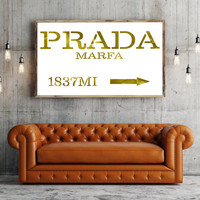 Printable art PRADA MARFA GOLD print,Fashion print,Fashion art,wall decor,poster print,fashion decor,home decor,Golden Fashion print,decor