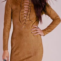 Brown Lace Up Suedette Dress