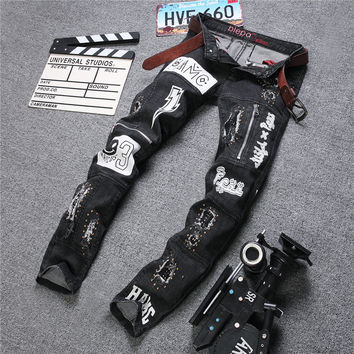 Winter Strong Character Ripped Holes Print Men's Fashion Stretch Denim Pants Jeans [6541740355]