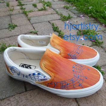 VONR3I Custom Painted Shoes Music Note Inspired Vans (Toms or Converse)