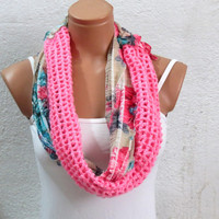 Infinity Scarf Block Scarf Knit and Crochet Block Infinity Scarf Ruffle Scarf - Circle Loop Scarf Women's Fashion Accessories
