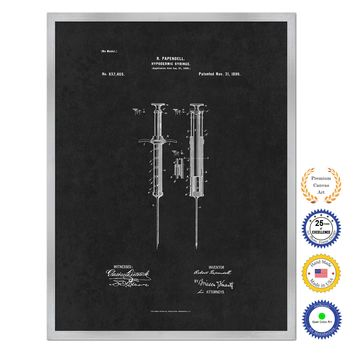 1899 Doctor Hypodermic Syringe Antique Patent Artwork Silver Framed Canvas Home Office Decor Great for Doctor Paramedic Surgeon Hospital Medical Student