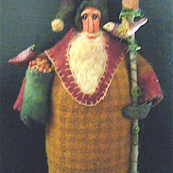 "OOAK Primitive Folk Art Santa-""Father Christmas w/Feathered Friends""-Original Design handmade from Wool w/Birdhouse and Cardinal"