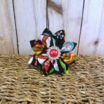 Ornaments // Dog Collar Flower // Holiday // Winter // Christmas // Fabric Flower // Collar Accessory // Hair Accessory // Presents // Dog