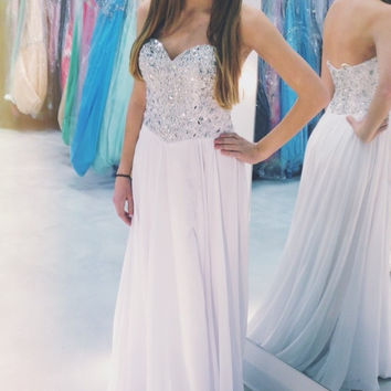 A-Line Sweetheart White Prom Dresses