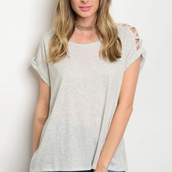 Heathered Gray Strappy Cold Shoulder Tee
