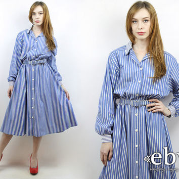 Vintage 80s Longsleeve Blue Striped Midi Dress L XL Work Dress Striped Dress Men's Shirt Dress Boyfriend Shirt Dress Longsleeve Dress