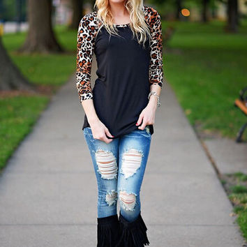 Black Leopard Print Sleeve Shirt