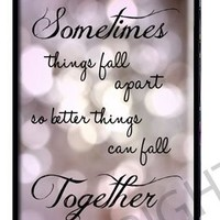 """Marilyn Monroe iPhone 5 5s Case - Lace iPhone Case - Black Snap on iPhone Cover - Quote iPhone Case Reads """"Sometimes things fall apart so better things can fall together"""" Marilyn Monroe Quote"""