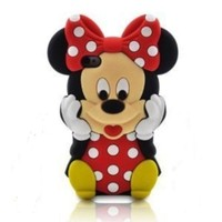 TFS 3d Cartoon Disney Mickey Minnie Mouse Soft Silicon Case Cover Compatible for Apple Iphone 5C(Red)