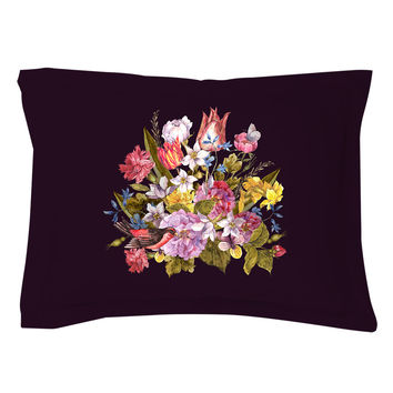 Budding Bouquet on Black Pillow Shams